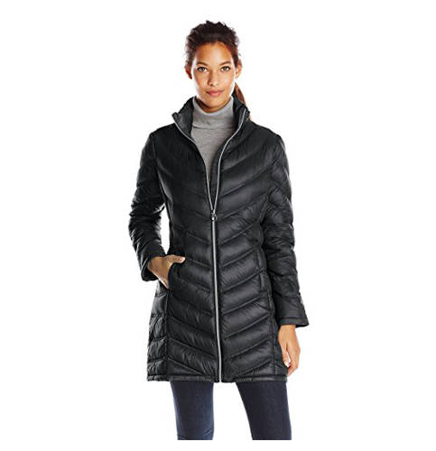 4. Calving Klein Chevron-Quilted Down Coat