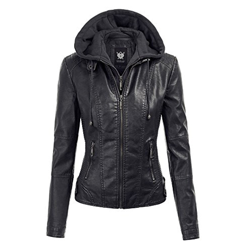 1. Lock and Love Hooded Faux Leather Jacket