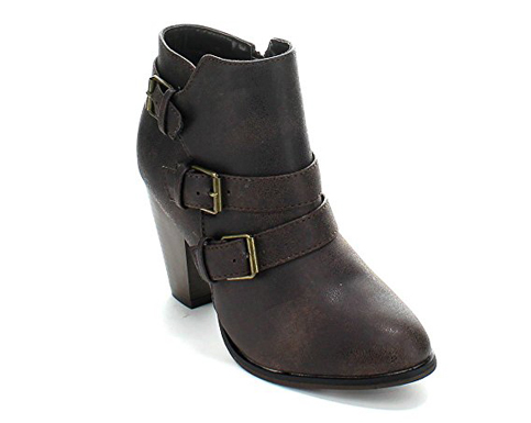 2. Forever Women's Buckle Strap Heel Ankle Booties