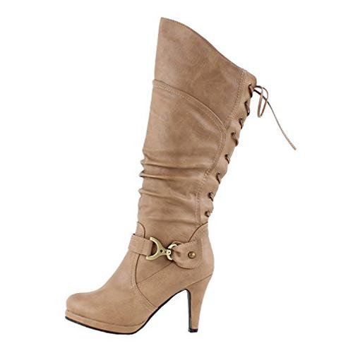 3. Top Moda Women's Knee High Heel Boots (Lace-up)