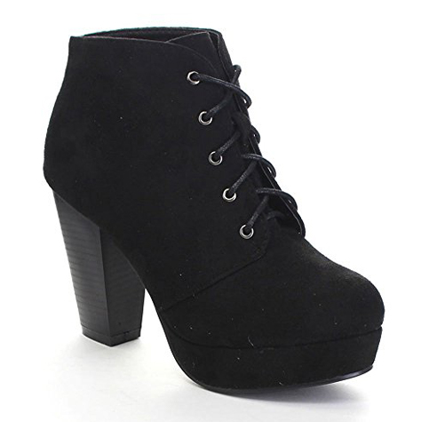 8. Forever Camille-86 Women's Lace Up Ankle Booties