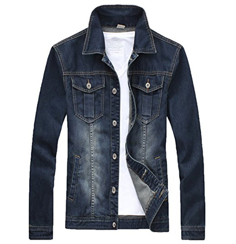 10. XueYin Flap Collar Slim Fit Denim Jacket