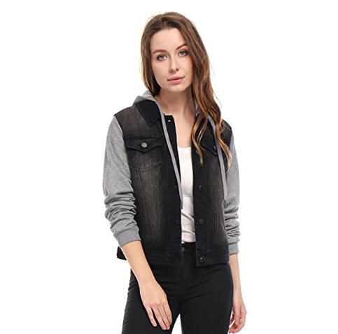 6. Allegra K Layered Hood Denim Jacket