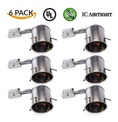 """2. Sunco Lighting 6"""" Remodel LED Recessed Light Housing (6 Pack)"""