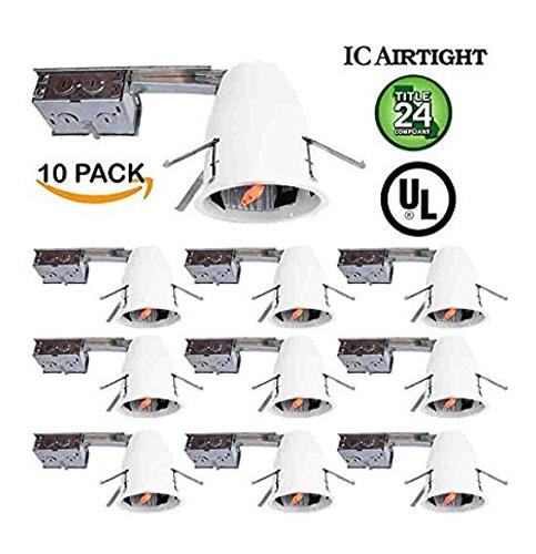 """6. Sunco Lighting 4"""" Remodel LED Recessed Light Housing (10 Pack)"""