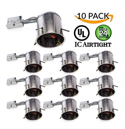 """3. Sunco Lighting 6"""" Remodel LED Recessed Light Housing (10 Pack)"""