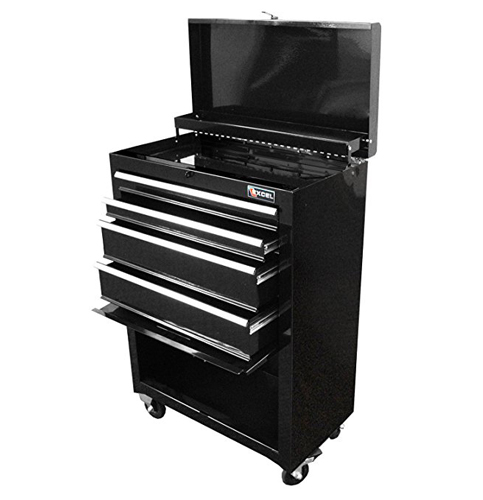 2. Excel TB2201X-Black Steel Rolling Chest and Cabinet Combination