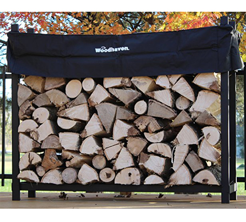 4. The Woodhaven 5-Foot Log Rack with Cover