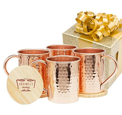 3. Advanced Mixology Pure Copper 1/2 Pound Mugs (Set of 4)