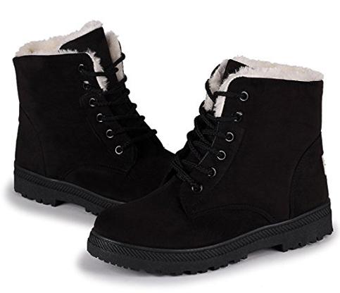 8. Susanny Suede Flat Platform Snow Boots