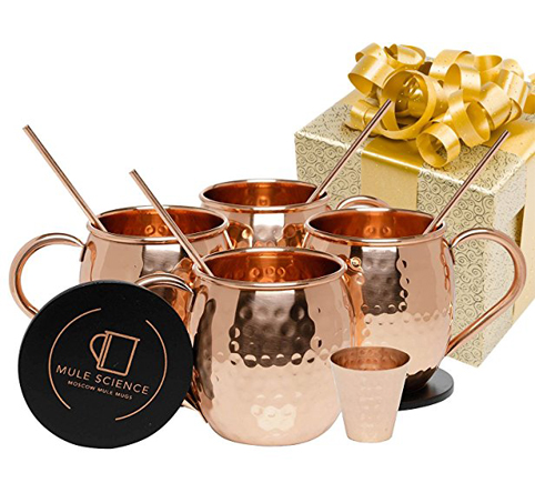 1. Advanced Mixology Moscow Mule Copper Mugs (Set of 4)
