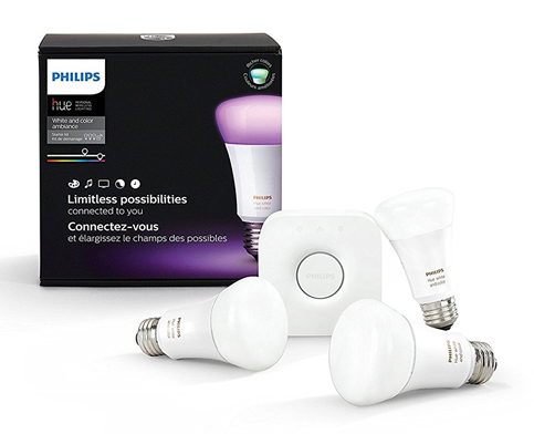 3. Phillips Hue 464479 A19 Starter Kit