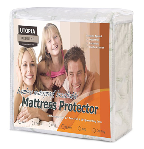 6. Utopia Bedding Bamboo Waterproof Mattress Protector