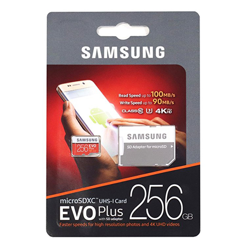 4. Samsung 256GB UHS-I microSDXC U3 with Adapter (MB-MC256GA)