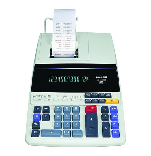6. Sharp EL-1197PIII Color Printing Calculator with Clock and Calendar