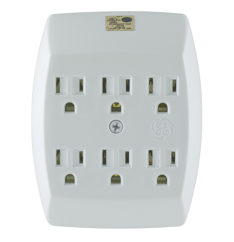 3. GE White 6-Outlet Grounded Tap (54947)