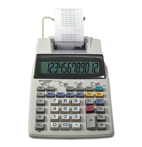 7. Sharp EL-1750V 12 Digit 2-Color Printing Calculator
