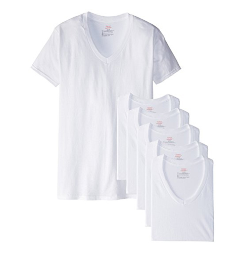 10. Hanes Men's White V-Neck T-Shirts (6-Pack)