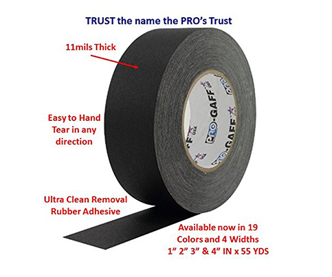 4. ProTapes Pro Gaff Premium Matte Cloth Gaffer's Tape With Rubber Adhesive