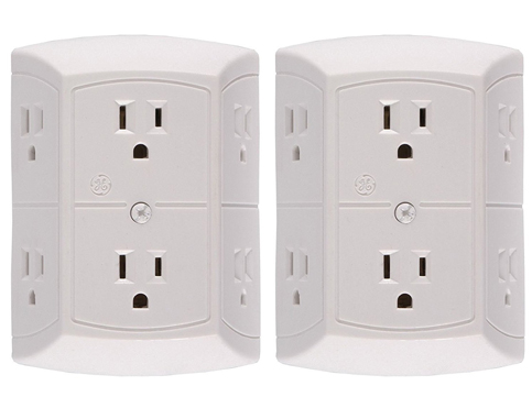 4. GE 2 X Grounded Adapter-Spaced Six-Outlet Tap