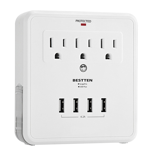 5. BESTTEN Multi Outlet Surge Protector