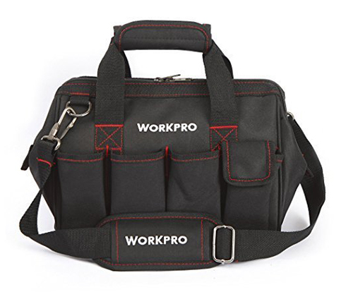 8. Workpro Top Wide Mouth Storage Tool Bag