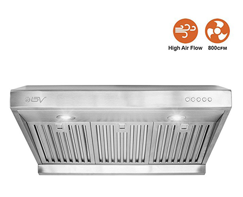 "7. BV Stainless Steel 30"" Range Hood with LED Lights"