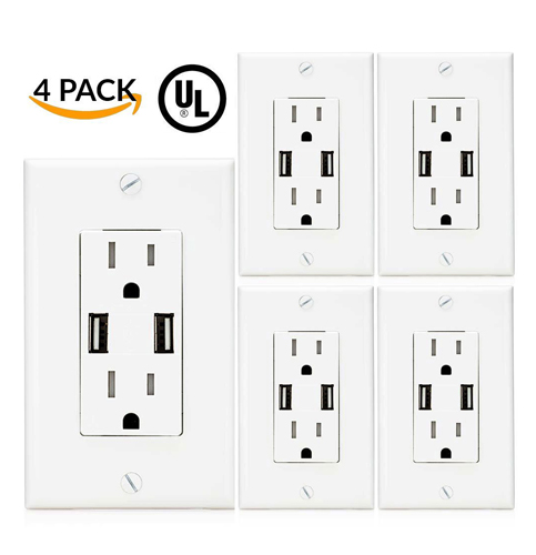 7. Sunco Lighting High Speed 2 USB Port Charger (4 Pack)