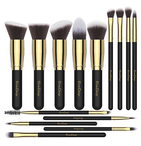 4. EmaxDesign 14 Pieces Makeup Brush Set