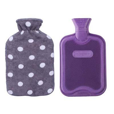9. HomeTop 2 Liters Rubber Hot or Cold Water Bottle (Purple/Gray Polka Dot)