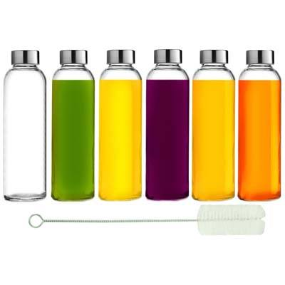 7. Brieftons 18 Oz Glass Water Bottles (6 Pack)
