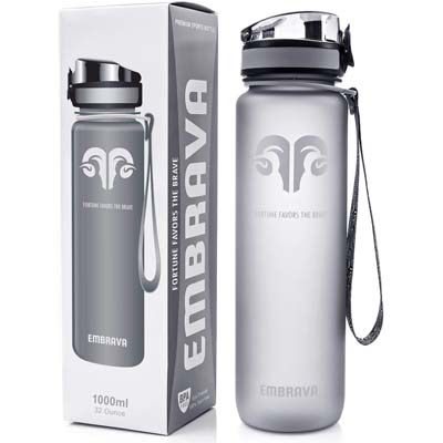 1. Embrava Best Sports Water Bottle (32oz Large)