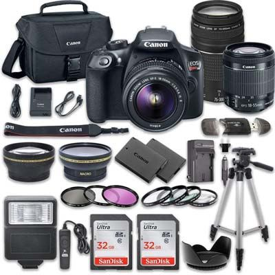 7. Canon DSLR Camera Bundle with Canon EF 75-300mm f/4 (EOS Rebel T6)