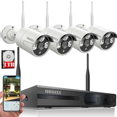 7. OOSSXX 8-Channel 1080P Wireless Security Camera System