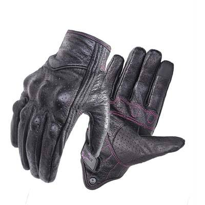 9. Superbike Full-Finger Leather Motorcycle Riding Gloves