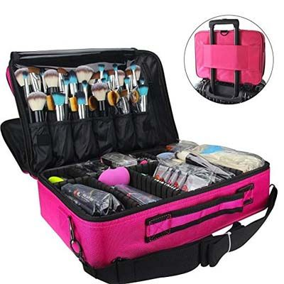 7. MONSTINA 3 Layer Cosmetic Organizer Makeup Case
