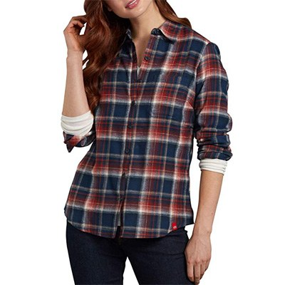 3. Dickies Women's Long-Sleeve Plaid Flannel Shirt