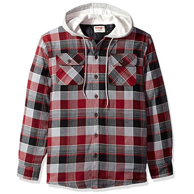 8. Wrangler Authentics Men's Flannel Jacket with Hood