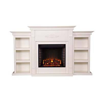 3. Southern Enterprises Ivory Finish Tennyson Electric Fireplace