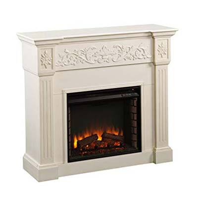 6. Southern Enterprises Brushed Calvert Electric Fireplace