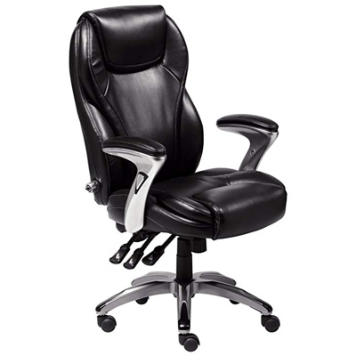10. Serta Black Leather Multi-Paddle Office Chair