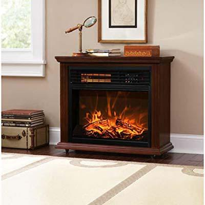 4. XtremepowerUS Quartz Infrared Walnut Electric Fireplace