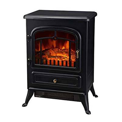 7. HomCom 1500W Electric Stove Wood Fireplace Heater