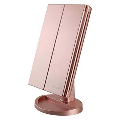 4. RICHEN DeWEISN Tri-Fold Lighted Vanity Makeup Mirror