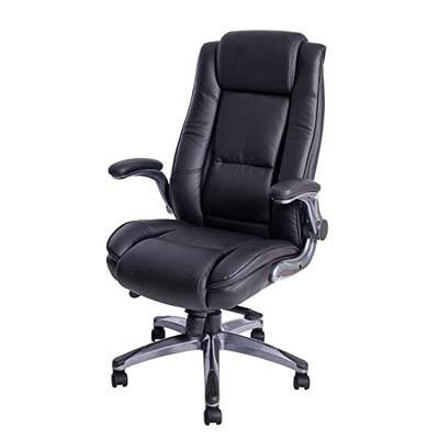 7. Kadirya Flip-Up Arms Bonded Leather Office Chair
