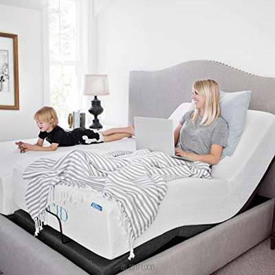 2. LUCID Charcoal L300 Dual USB Twin XL Adjustable Bed