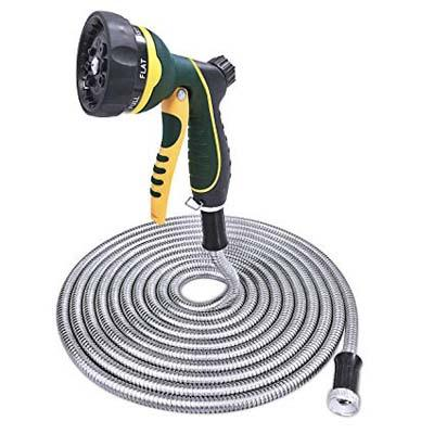 6. The FitLife Stainless Steel Metal Garden Hose