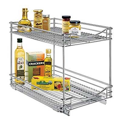 3. Lynk Professional Sliding Under Cabinet Chrome Organizer - 2 tier