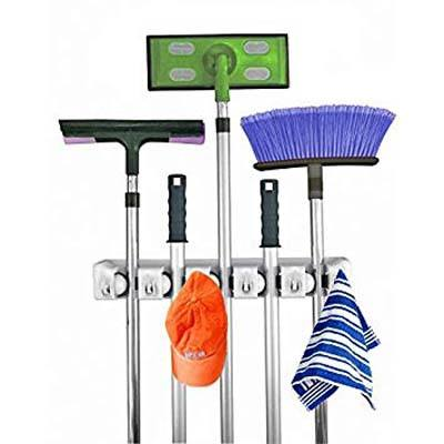 10. Home-it 5 Position Mop and Broom Organizer with 6 Hooks