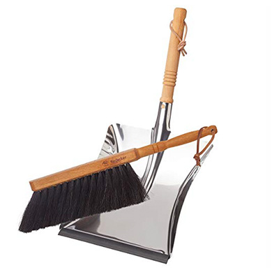1. REDECKER Durable Dustpan & Brush Set, Stainless Steel